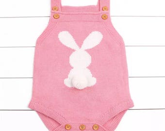 Bunny Tail pink knit romper