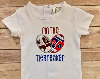 ccac60c26d Football rivalry BABY BODYSUIT; I'm the tiebreaker; House divided; 2 teams,  baby gift; College football outfit; Baby shower gift boys girls