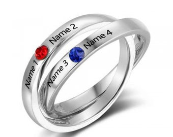 Birthstone Ring Mother/'s Ring Sterling Silver Personalized Engravable Ring JEWJORI102738