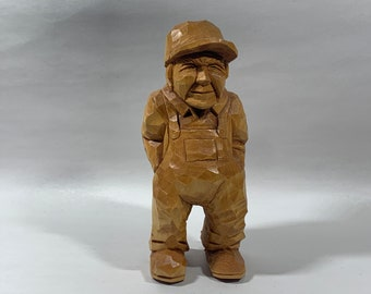 Hand Carved Wood Man in Hat Folk Art Doll