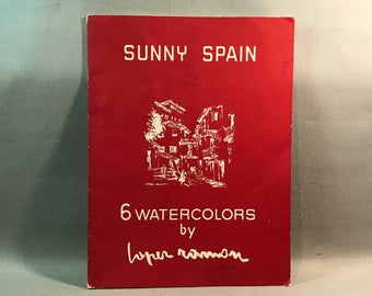 Sunny Spain Watercolor Prints 1958 Lopez Ramón Set of Six