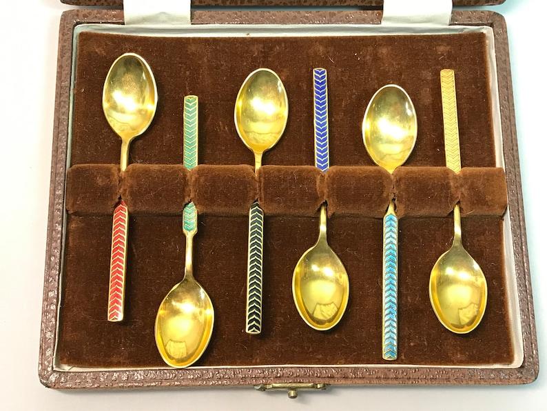 Meka Denmark Gold Plated Enamel Demitasse Spoon Set in Box