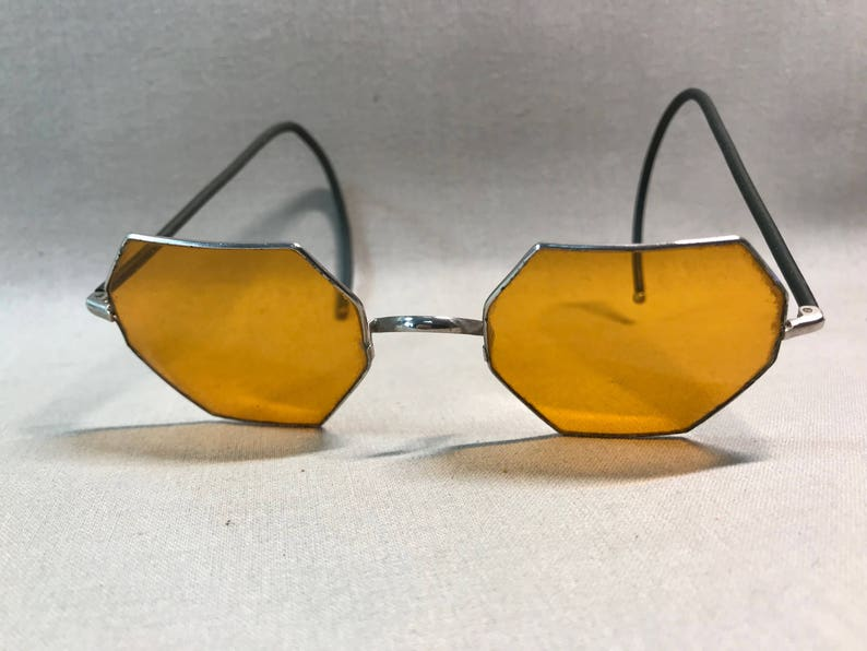 b38dee3fe5f SALE Vintage Octagonal Glasses Amber-Colored Lenses