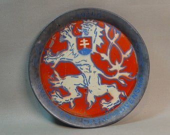 1945 Czech Liberation Commemorative Metal Plate
