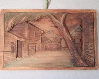 Norwegian Carved Wood Village or Farm Scene Hardanger