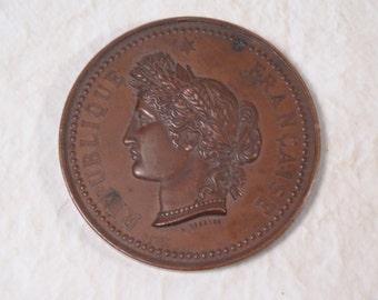 SALE!!!  Turn-of-the Century Copper Republique Francais Medallion Paris Flea Market Find