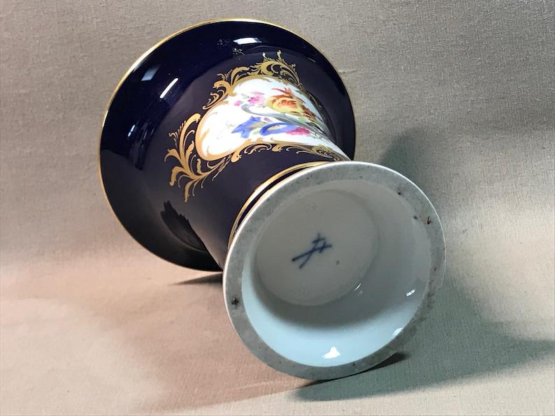 Meissen Germany Cobalt Porcelain Trumpet Vase Midcentury European Charm