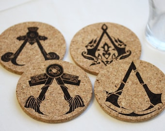 Assassin's Creed Coasters Decor Gift Home Assassin Insignia Laser Etched Cork Coasters Set of 4