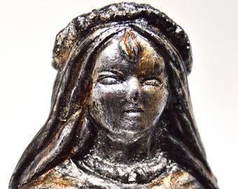 Brigid - Handmade gilded  sculpture - Steel finish