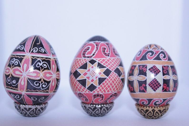 Traditional colors Ukrainian Pysanky quail egg image 0