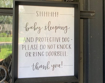 photograph about Printable Baby Sleeping Sign Front Door identify Boy or girl sleeping signal Etsy