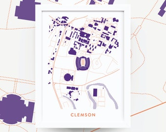 Clemson map art | Etsy