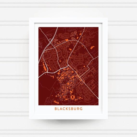 Blacksburg Va Map Print Virginia Tech Gifts Virginia Tech Etsy