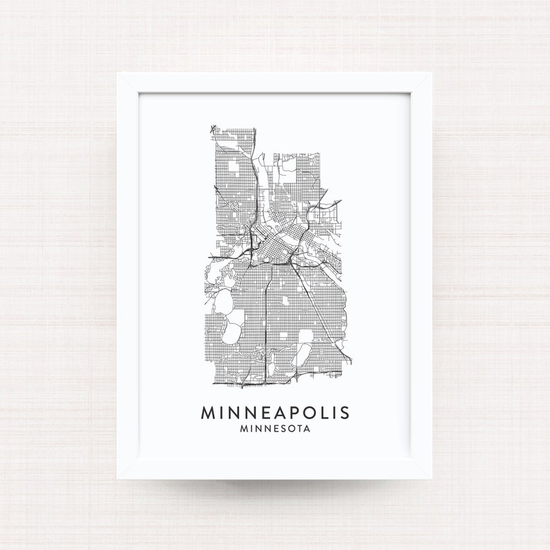 MINNEAPOLIS MINNESOTA Map Print / Minneapolis Black and White | Etsy