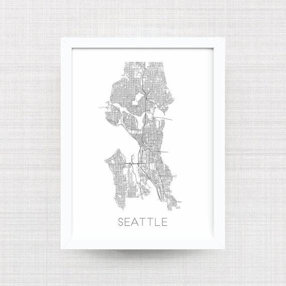 Seattle Washington Map Print Home Decor Office Decor Etsy