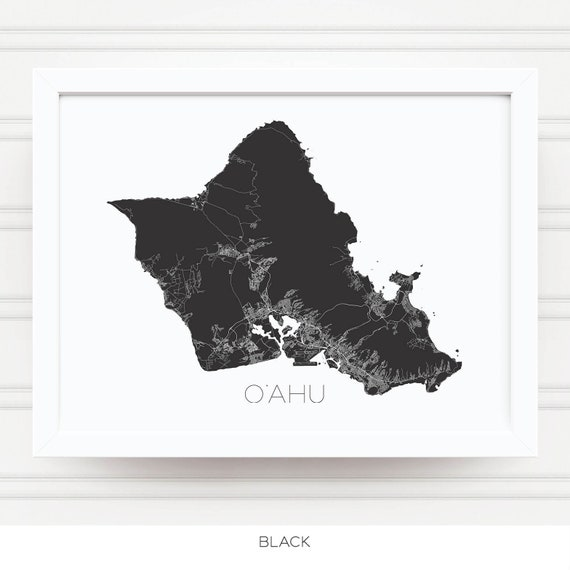 Oahu Hawaii Map Print Black And White Home Decor Office Etsy