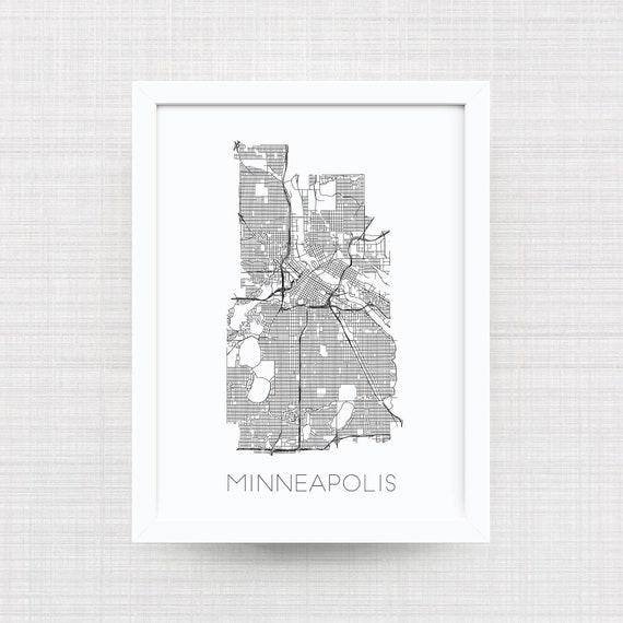 MINNEAPOLIS MINNESOTA Map Print Black And White Home Decor