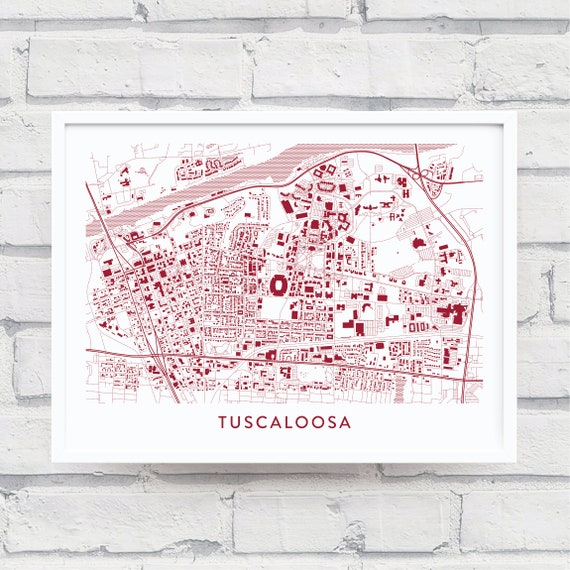 TUSCALOOSA AL Map Print / University of Alabama Gifts / Alabama Crimson  Tide / Alabama Souvenir Alumni / Home Wall Décor / Wall Art Poster