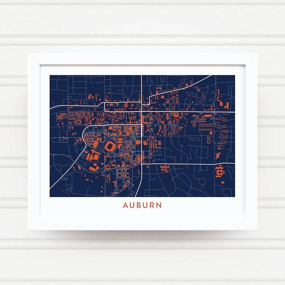 AUBURN AL Map Print / Auburn University Gifts / Auburn Tigers | Etsy