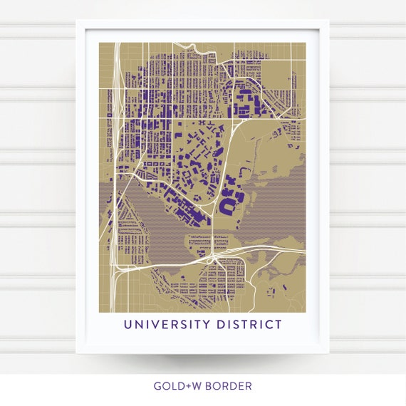 UNIVERSITY DISTRICT WA Map Print / Washington Huskies Gift / University of  Washington / U of Washington Map Art / U of Washington Decor Gift