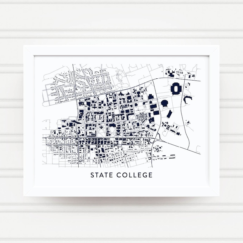 State College Pa Map Print Penn State Gifts Nittany Lions Etsy