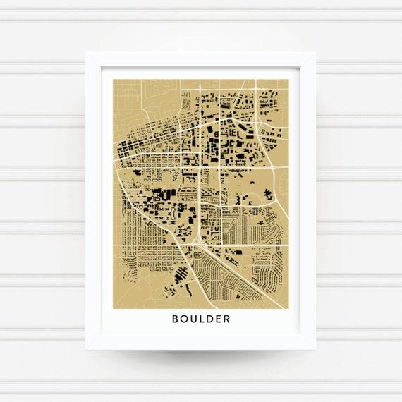Boulder Colorado Map Print University Of Colorado Gifts Etsy