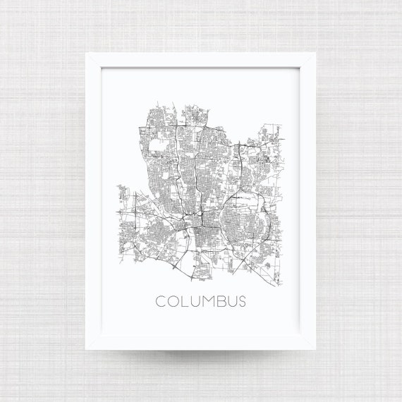 Columbus Ohio Map Print Black And White Columbus Artwork Etsy