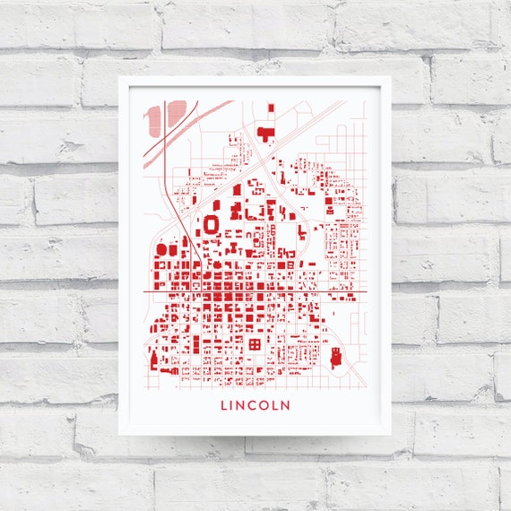 LINCOLN NE Map Print / University of Nebraska Gifts / Nebraska Cornhuskers  / U of N Souvenir Alumni / Home Wall Décor / Wall Art Poster