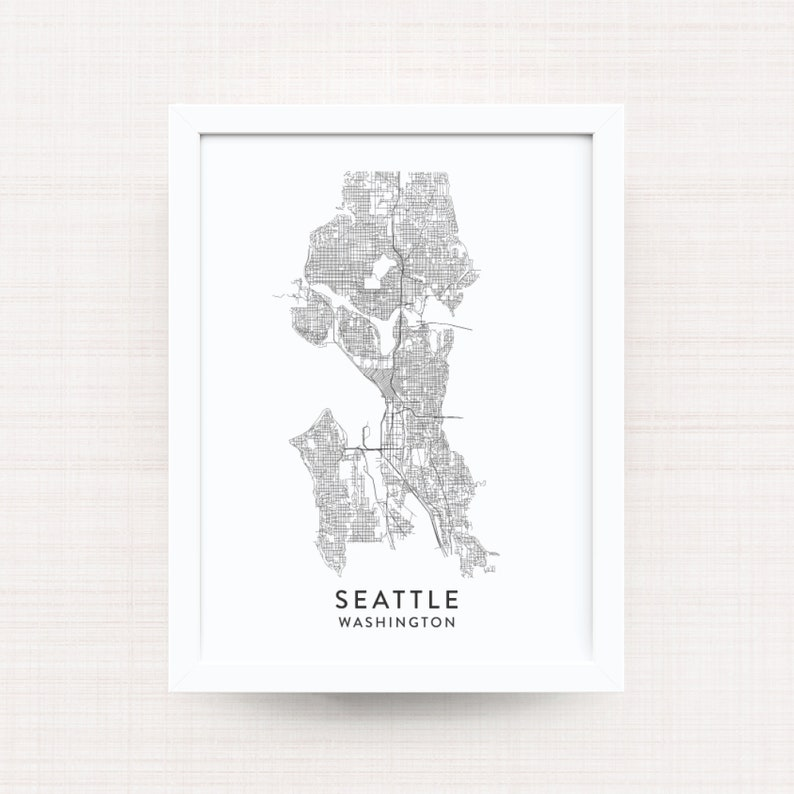 SEATTLE WASHINGTON Map Print / Seattle Artwork / Seattle Decor / Wall on tulsa oklahoma map, oregon map, austin texas map, mount rainier map, world map, seattle neighborhood map, washington state map, spanaway washington map, puget sound washington map, usa map, lynnwood washington map, united states map, downtown seattle map, st. louis map, seattle wa, georgetown seattle map, seattle city limits map, sequim washington map, city of seattle boundary map,