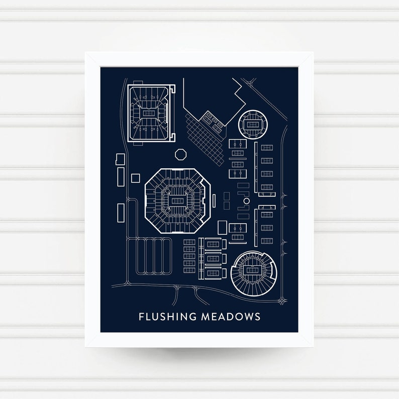 Flushing Meadows Tennis Print Us Open Gift Billie Jean Etsy - Us-open-tennis-location-map