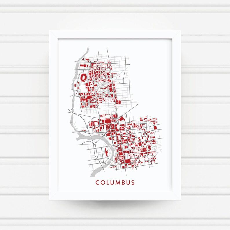 Columbus Ohio Map Print Ohio State Gift Home Decor Etsy