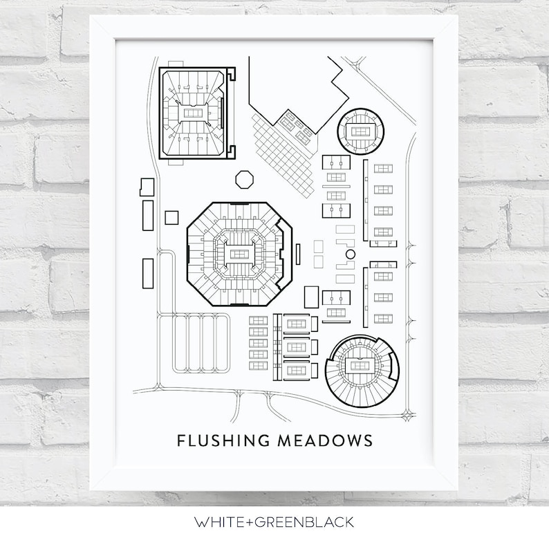 Flushing Meadows Tennis Print Us Open Gift Billie Jean Etsy - Us-open-tennis-center-map