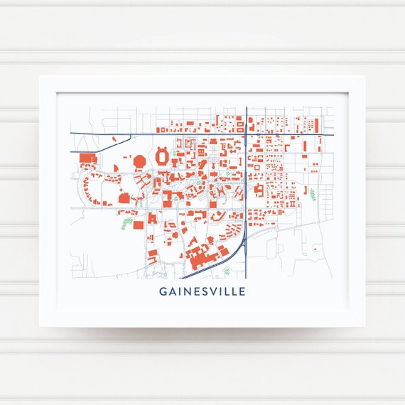 Map Of University Of Florida.Gainesville Fl Map Print University Of Florida Gifts Etsy
