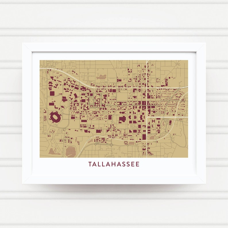 Tallahassee Fl Map Print Florida State University Gifts Etsy