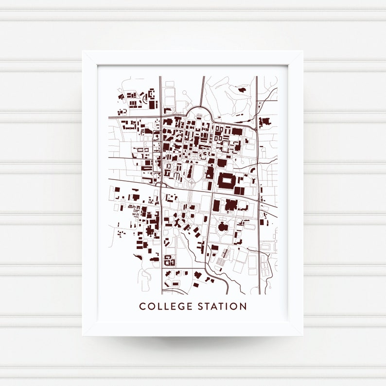 College Station Map Of Texas.College Station Tx Map Print Texas A M University Gifts Etsy
