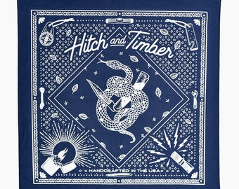 Hitch & Timber Snake Bandana ~ Navy Blue