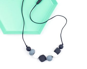 Silicone Teething & Nursing Necklace  -  'Ariel' Monochrome  - Silicone Jewelry - Baby Shower Gift - New Mum Gift - Chew Necklace