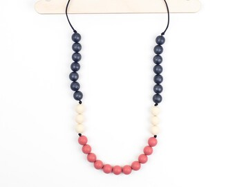 Silicone Teething & Nursing Necklace - Peach 'Phoebe' - Teething Jewellery - Chewelry - Chew Beads - Teether- Baby Gift - Mama Necklace