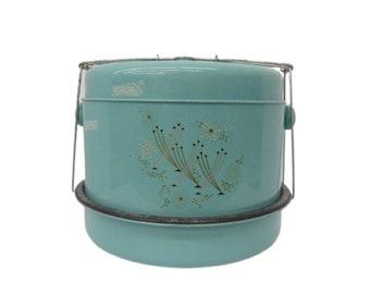 Atomic Mod Tin Litho Cake Carrier Turquoise