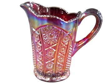 Red Sunset Heirloom Paneled Daisy Carnival Glass Pitcher by Indiana Glass Co, 46 oz