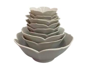 Vintage White Lotus Bowls Set of 10 1960s