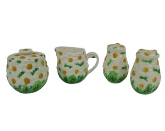 Vintage Daisytime Creamer & Sugar Bowl Set with Matching Shakers