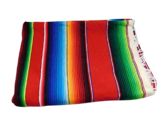 Vintage Mexican Serape Pendelton Style Blanket with Fringe, Southwestern