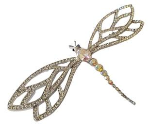 "Vintage Crystal Aurora Borealis Dragonfly Brooch 4.25"""