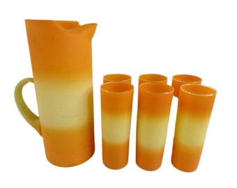 Blendo Style OMBRE Martini Pitcher Set with Tumblers  in Orange and Yellow Candy Corn 1950s