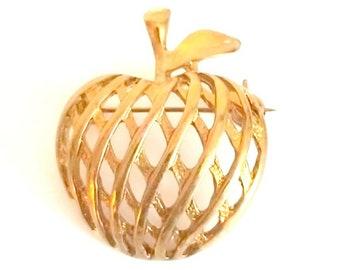 Vintage Apple Gold Tone Open Work Brooch, Teacher Appreciation