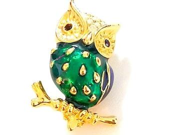 Vintage Gold Tone Enamel and Crystal Brooch, Enamel Owl Pin