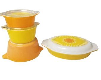 Pyrex Sunflower Daisy Casserole Dish Bundle, Set of 4