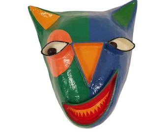 Gina Truex Paper-Mache Cat Face Mask Wall Decor, Post Modern Colorful Paper Wall Art, 1980's Wall Decor