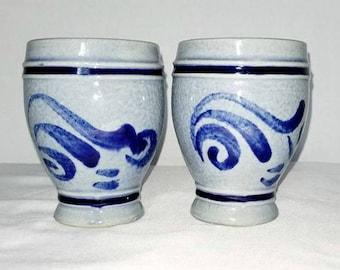 Vintage Stoneware Cups,Set of 2,Marzi and Remy,Pottery Cups,Stoneware Cups,Blue Pottery,Pottery Goblet,West Germany,Salt Glazed,Goblet,1970s